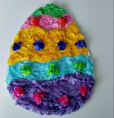 Tissue-Paper-Easy mosaic Easter Egg Craft!   We used to make these every year in elementary school!