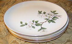 Vintage Porcelain Dogwood Plates Set of 5 Gold by AntiquesAtlanta
