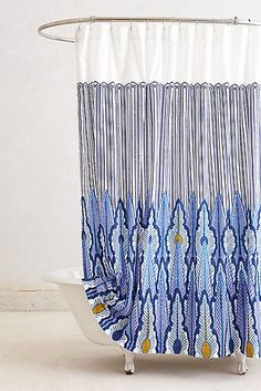 "The Ultimate Fall Decor Guide"" Peacock Quills Shower Curtain ($98)"