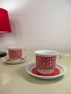 Pair of Vintage Cup Arabia Finland Art Pottery Cup and Saucer White and Red color Heart design Scandinavian 1970s