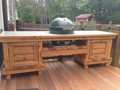 Dual chest end egg table Outdoor Kitchen Plans, Outdoor Oven, Backyard Kitchen, Outdoor Cooking, Outdoor Dining, Outdoor Kitchens, Big Green Egg Table, Green Eggs, Bbq Grill