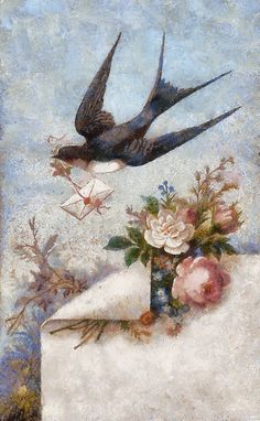 Vintage Swallow with Envelope