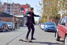 Skating on Fox Street in formal clothing Skating, Fox, Street Style, Urban, Formal, Clothing, Pants, Photography, Fashion