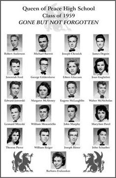 class reunion ideas | Poster From Yearbook Photos of Classmates who have passed