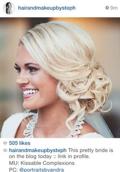 Dead Gorgeous Curly Wedding Updos low bridal updo with soft curls ~ we ❤ this! low bridal updo with soft curls ~ we ❤ this! Wedding Hair Side, Wedding Hair And Makeup, Hair Makeup, Bridal Hair Side Swept, Wedding Bun, Side Bun Hairstyles, My Hairstyle, Wedding Hairstyles Side, Side Bun Updo