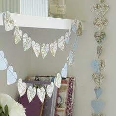 This map heart garland would be perfect for a going-away party- put a mix of their old and new destinations!