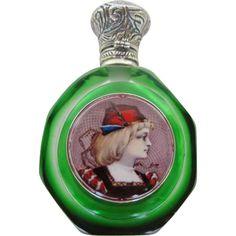 Francés antiguo del vidrio verde Limoges esmalte placas Perfume Sterling Botella Lid