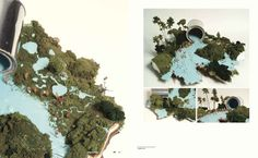 """Minnesota-based artist Gregory Euclide's work explores the way in which he """"experiences nature and how it is tied to the cultural practice of constructing landscapes as idealized images."""" Here, he created a modeled landscape where an overturned paint can and its contents create a river running through the scene."""