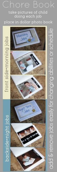 DIY Kids Chore Books with Printable- pair with a chart (could make collage photos for step by step progress)