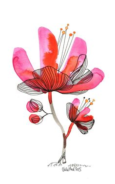 49 Ideas Flowers Illustration Simple Paintings For 2020 Watercolor Drawing, Abstract Watercolor, Watercolor And Ink, Watercolor Flowers, Painting & Drawing, Watercolor Paintings, Watercolors, Art Et Illustration, Botanical Illustration