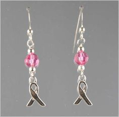 Breast Cancer Awareness Earrings - Exquisite Handcrafted Beaded Jewelry by Vael Designs