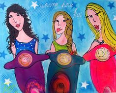 Vespa Girl, Vans Girls, Disney Characters, Fictional Characters, Poster, Disney Princess, Canvas, Artwork, Prints