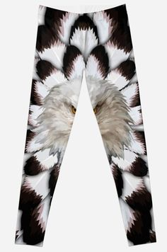 Eagle and feather Pattern Leggings #Leggings #clothing #Leopard #albinoleopard #tiger #lion #hyenas #hyaenas #cat #animals #jaguar #LionRoar #Tigerskins #eagle #bird #eagleeye #pattern