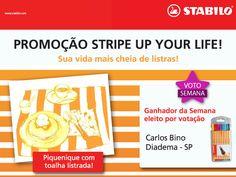 O mais VOTADO da SEMANA na promoção Stripe Up Your Life foi o Carlos Bino, de Diadema.  Boa, Carlos! Levou o estojo cheio de STABILO