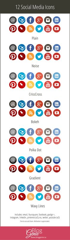 Social Media Icons: 7 Sets Complete with Pinterest & Instagram   A free to use set from: http://www.bloggenie.ca/