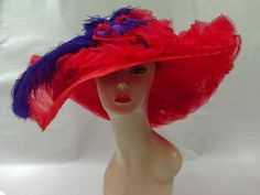 Red Wide Brim Hat With Feather Tulle and Crinoline Ribbon