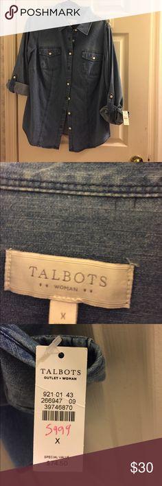 Talbots Women's Denim Shirt Talbots Women's Denim Shirt Talbots Tops Blouses