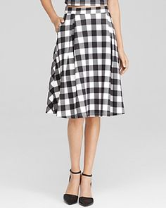We're gaga for gingham, and this only-ours midi skirt from Lucy Paris flaunts the oversize checks in bold black-and-white. Make it of-the-moment with the matching flirty crop top! #100PercentBloomies