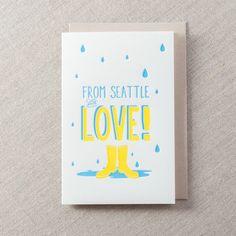 From Seattle Rainboots - Letterpress Greeting Card, By Pike Street Press - Seattle