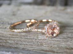 SET - Morganit Verlobungsringe In 14K Rose Gold Halo Diamant-Einstellung