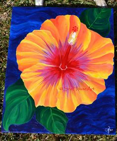 Hibiscus Flower Painting  Original Art Acrylic by SeaHouseArt