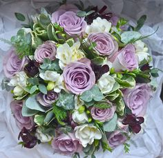 Rose, freesia and eucalyptus bouquet