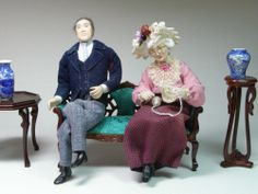 Vintage Doll House Miniature 1/12 Scale Artisan Elderly Couple, Handstitched