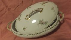 Antique Circa 1890-1914 French Porcelain China Oval Covered Serving Bowl  ~Limoges, France~
