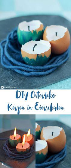 DIY Osterdeko - Kerzen in Eierschalen selbermachen - simple Idee für die Ostertischdeko zum Selbermachen