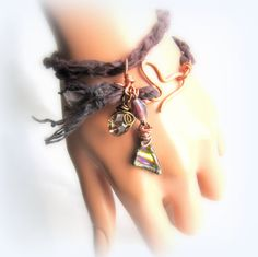 Boho Gypsy Braided Sari Silk Wrap Bracelet Fused Dichroic Glass and Copper Wire Wrapped Crystal Charm Bracelet