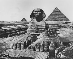 The Giant Sphinx in Giza in the 1920s.