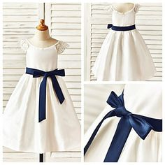 A-line Tea-length Flower Girl Dress - Taffeta Short Sleeve – USD $ 49.99