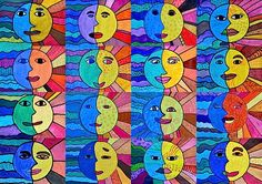 "I thought of a imagine to match the feelings of ""temperature"" given from warm and cool colors. The idea has brought of this work, with a sun and a moon. The sun evokes the heat, the fir…"