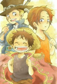 Ace, Sabo, Luffy, brothers, young, childhood, cute; One Piece