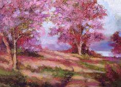 """Violet Hill""9x12 original palette knife oil by Peggy Ann Thompson"