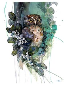 Official Rachel Walker Page. New Zealand watercolour, spray paint, pen and ink artist creating splashy celebrations of native and rare animals. Watercolor And Ink, Watercolor Paintings, Watercolor Trees, Watercolor Portraits, Watercolor Landscape, Abstract Paintings, Art Paintings, Watercolors, Rachel Walker