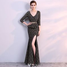 Chic / Beautiful Black Gold Evening Dresses  2018 Trumpet / Mermaid V-Neck 3/4 Sleeve Metal Sash Split Front Ankle Length Ruffle Backless Formal Dresses