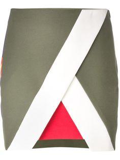 Msgm Geometric Floral Panelled Mini Skirt - Profile - Farfetch.com