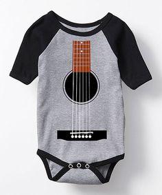 Athletic Gray & Black Guitar Tuxedo Raglan Bodysuit - Infant #zulily #zulilyfinds