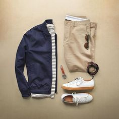 Waiting for the weekend. Shirt: @toddsnyderny Striped Button Pocket Tee Bomber Jacket: @topman Shoes: @toddsnyderny x @pf_flyers Chinos: @jcrew 484 Essential Chino Glasses: @moscotnyc x @toddsnyderny Belt: @caputoandco Ring Belt Watch: @timex x @redwingheritage