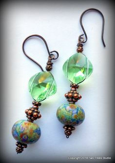 Gardens of Green: Petite lampwork and crystal earrings that make every day an occasion. By Two Trees Studio