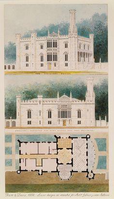 Glen Ellen for Robert Gilmor, Towson, Maryland (perspective, elevation, and plan), 1832–33 Alexander J. Davis (American, 1803–1892) Watercolor, ink, and graphite on paper