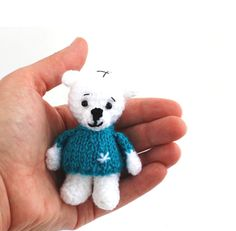 $23.58 miniature polar bear, crochet little white bear, winter home decor, amigurumi polar bear in tealblue pulover, tiny #polarbear, stuffed bear, #wintergift by crochAndi