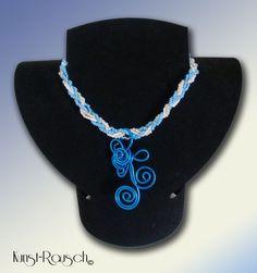 Kette Blau Weiß mit Anhänger von Kunst-Rausch auf DaWanda.com