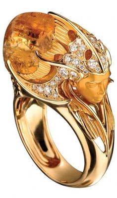 Citrine and Diamond Ring in 18k gold by Magerit - Haute Tramp