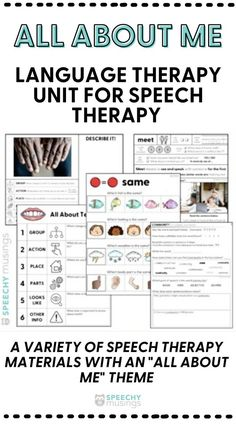 Looking for some fun themed speech therapy resources to use in during your sessions? This All About Me themed language therapy unit is just what you need! You'll get materials to target core basic concepts, describing, tier 2 vocabulary, sentence combining, and more! Speech Therapy Activities, Language Activities, Speech Language Therapy, Speech And Language, Figurative Language Activity, Articulation Therapy, Receptive Language, Phonological Awareness, Vocabulary