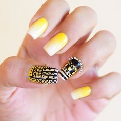 My first #aztec #nails #yellow #gradient #adournails It takes a looooottt of time! Gosh!
