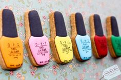 Nail polish cookies for a shower themed after pampering your ladies