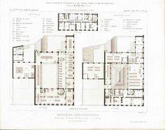 Building Plans for Saint-Michel Boulevard Publishing Co. 1883 Architecture Print