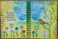 Using Creative Imaginations Stencils  and Dylusions products for these pages!